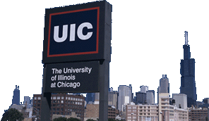 UIC Sign in front of Chicago Skyline
